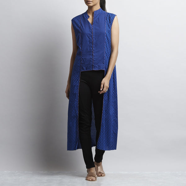 Blue Crop Cut Button Down Front Open Long Cotton Tunic by Shilpa Madaan