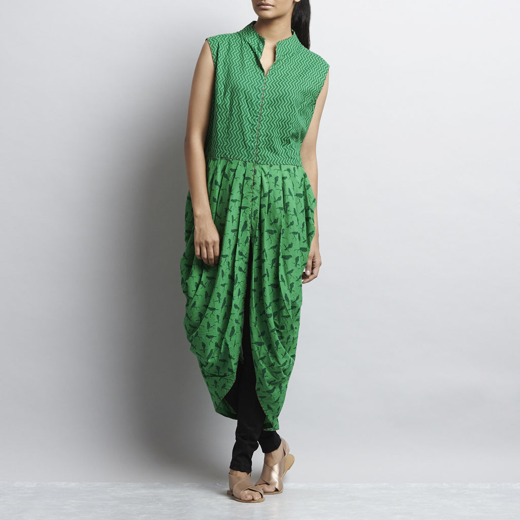 Green Mix & Match Print Handembroidered Long Cowlled Cotton Dhoti Bottom Tunic by Shilpa Madaan