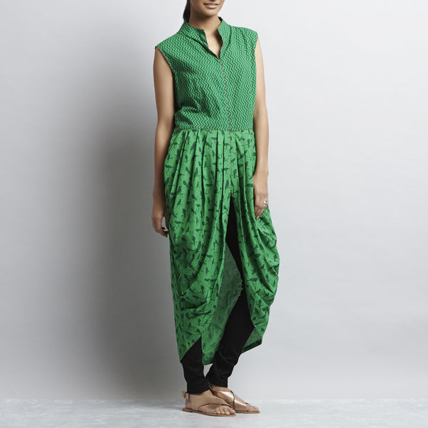Green Mix & Match Print Handembroidered Long Cowlled Cotton Dhoti Bottom Tunic