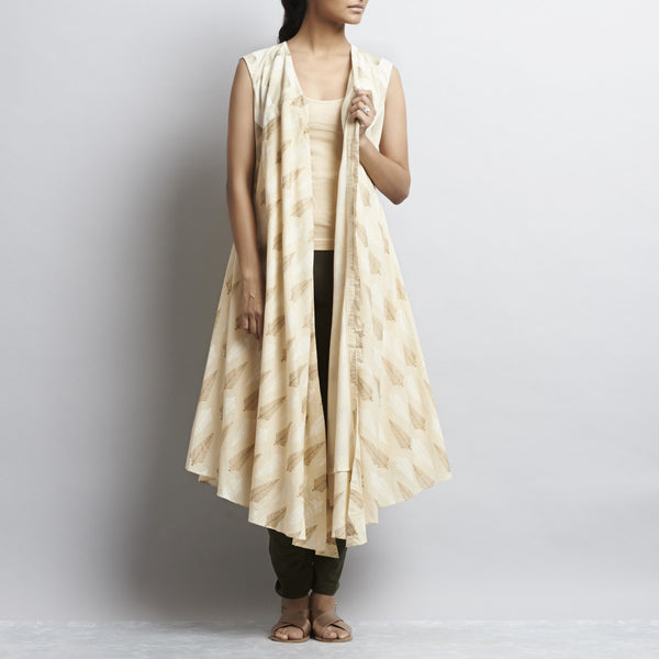 Beige Gold Khari Block Print Front Open Asymmetric Hem Long Cotton Dress