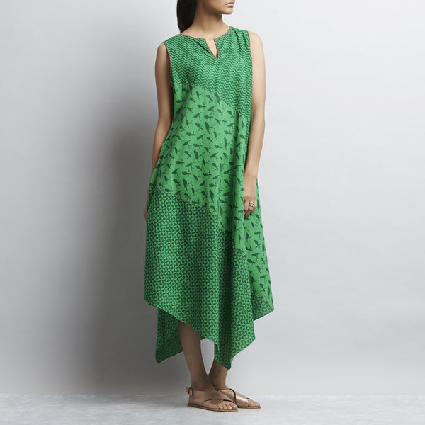 Green Mix & Match Print Tri Bias Cut Pointed Hem Cotton Dress