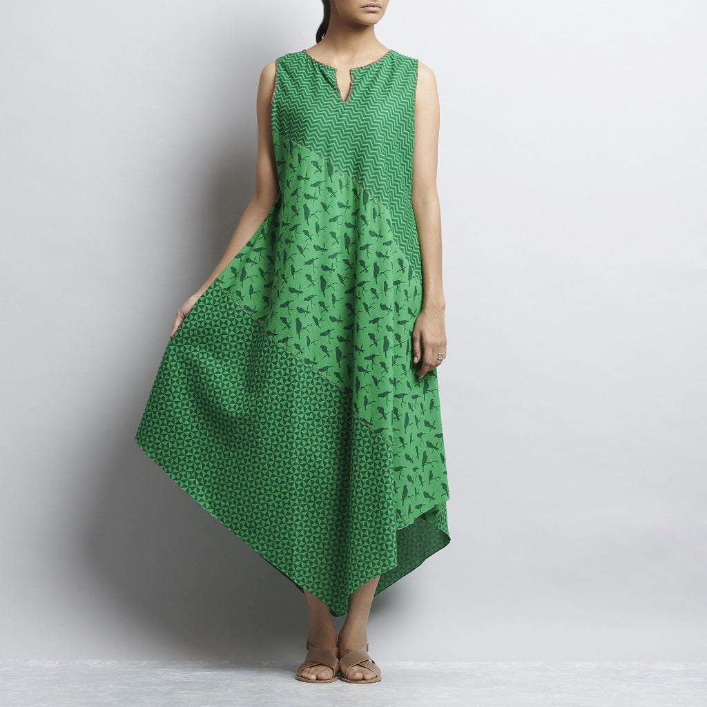 Green Mix & Match Print Tri Bias Cut Pointed Hem Cotton Dress by Shilpa Madaan