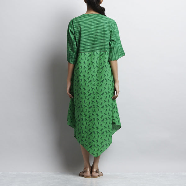 Green Mix & Match Rajasthani Print Kimono Sleeved Front Open Cotton Dress With Contrast Color Detail