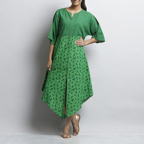 Green Mix & Match Rajasthani Print Kimono Sleeved Front Open Cotton Dress With Contrast Color Detail by Shilpa Madaan