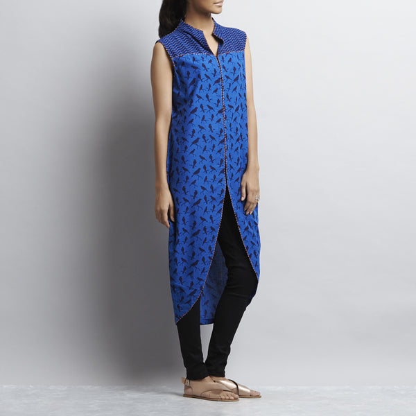 Blue Mix & Match Rajasthani Print Front Open Cotton Tulip Tunic