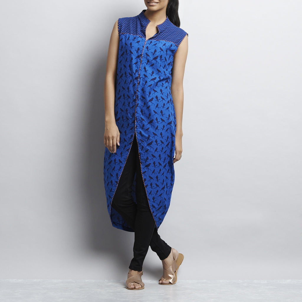 Blue Mix & Match Rajasthani Print Front Open Cotton Tulip Tunic by Shilpa Madaan