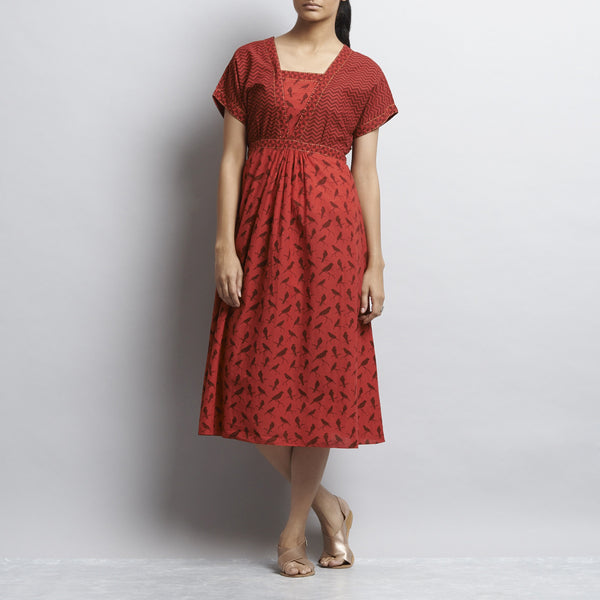 Red Rajasthani Print Belted Kimono Cotton Dress With Contrast Color Detail