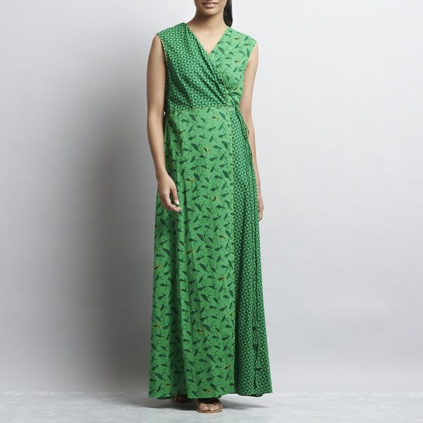 Green Mix & Match Rajasthani Print Overlap Angrakha Long Cotton Dress With Contrast Color Handembroidery