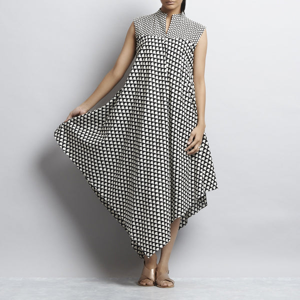 Black Mix & Match Print Bias Cut Pointed Hem Flared Cotton Dress