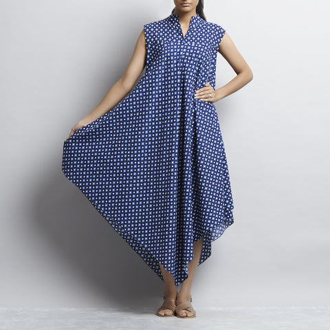 Indigo Mix & Match Print Bias Cut Pointed Hem Flared Cotton Dress by Shilpa Madaan