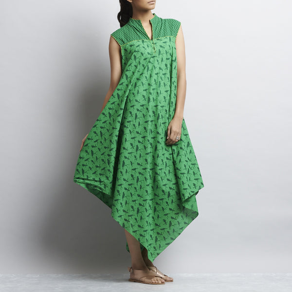 Green Mix & Match Print Bias Cut Pointed Hem Flared Cotton Dress