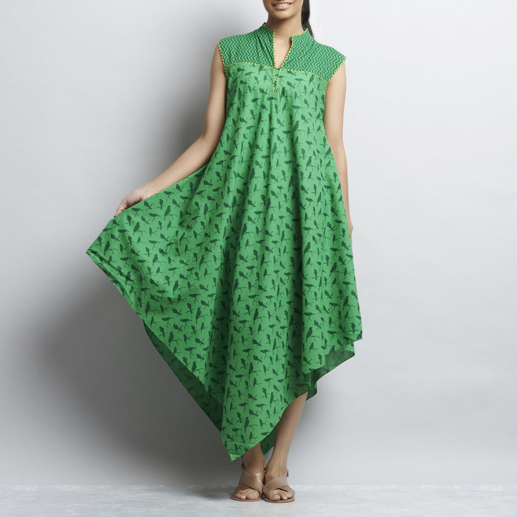 Green Mix & Match Print Bias Cut Pointed Hem Flared Cotton Dress by Shilpa Madaan