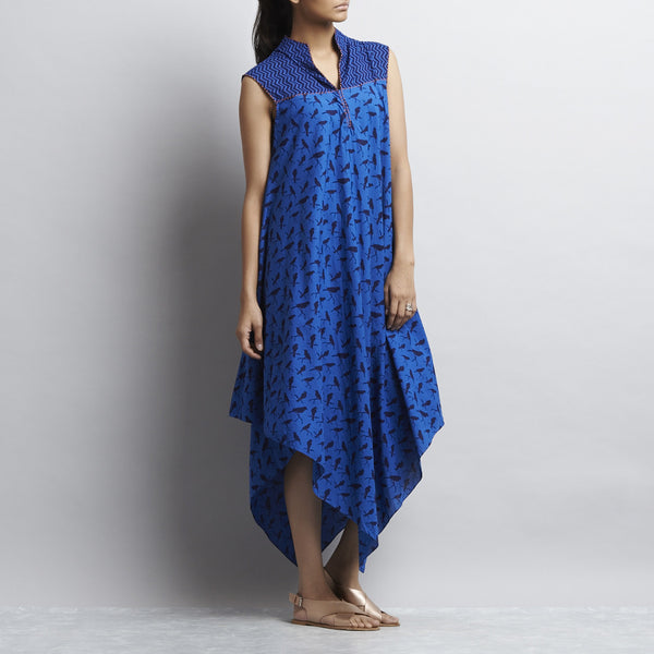 Blue Mix & Match Print Bias Cut Pointed Hem Flared Cotton Dress