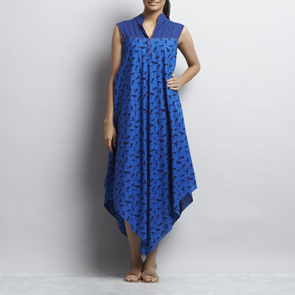 Blue Mix & Match Print Bias Cut Pointed Hem Flared Cotton Dress by Shilpa Madaan