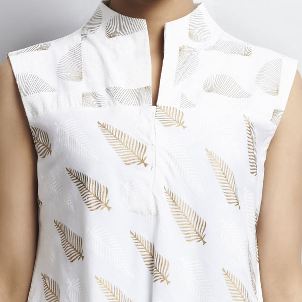 Mix & Match Gold Khari Block Print White Bias Cut Pointed Hem Flared Cotton Dress