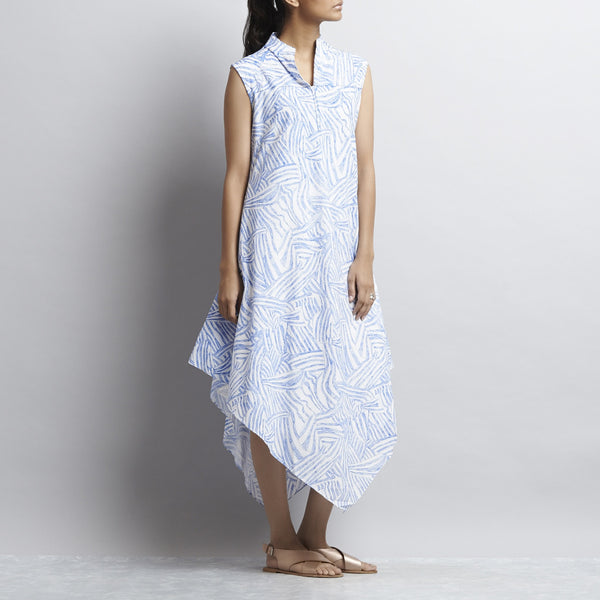 White & Blue Mix & Match Print Bias Cut Pointed Hem Flared Cotton Dress