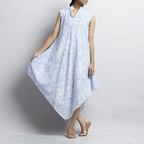 White & Blue Mix & Match Print Bias Cut Pointed Hem Flared Cotton Dress by Shilpa Madaan
