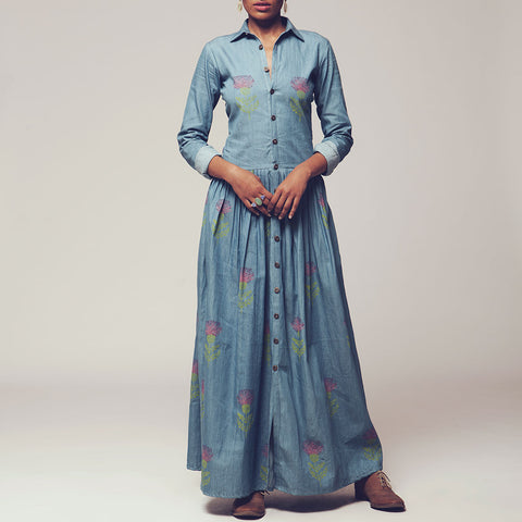 Light Blue Floral Block Print Denim Button Down Dress by SHOW SHAA