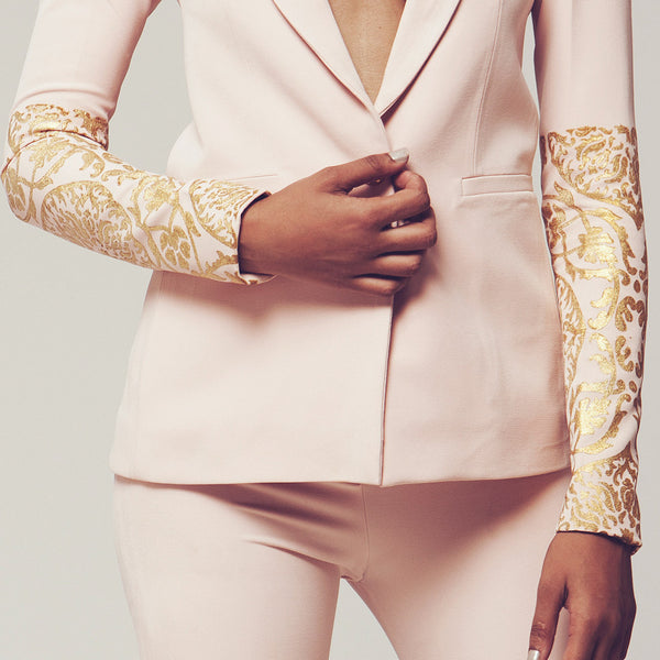 Set Of Baby Pink Butter Crepe Blazer & Lapels Bell-Bottoms With Gold Foiled Sleeves