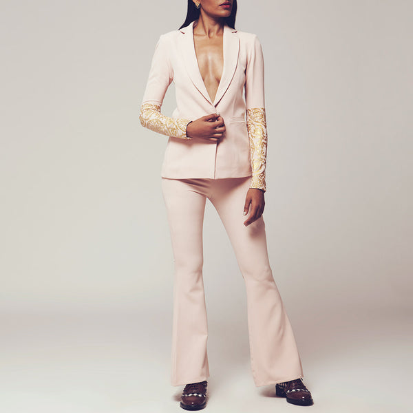 Set Of Baby Pink Butter Crepe Blazer & Lapels Bell-Bottoms With Gold Foiled Sleeves by SHOW SHAA