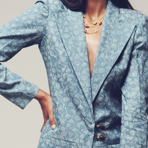 Set Of Blue Block Print Denim Blazer & Pants