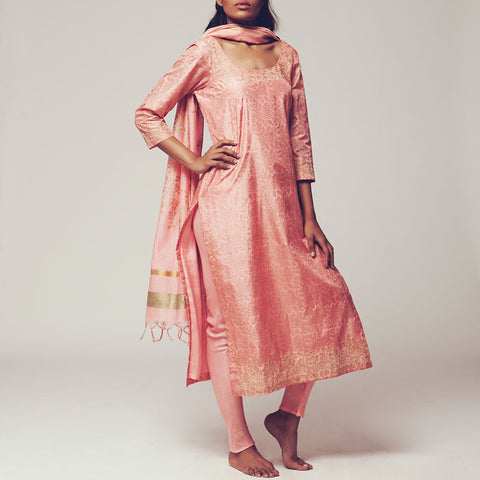 Set of Rose Pink Floral Block Print Silk Kurta with Maheswari Dupatta & Viscose Churidar by SHOW SHAA