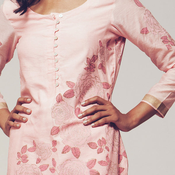 Set Of Pink Floral Block Print Cotton Chanderi Kurta With Linen Pants
