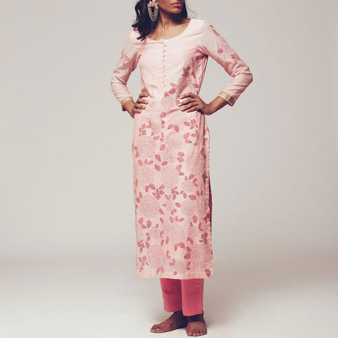 Set of Pink Floral Block Print Cotton Chanderi Kurta with Linen Pants by SHOW SHAA