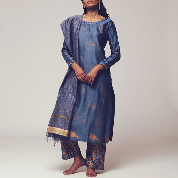 Set of Steal Blue Floral Block Print Chanderi Kurta with Maheshwari Dupatta & Poly Cotton Bottoms by SHOW SHAA