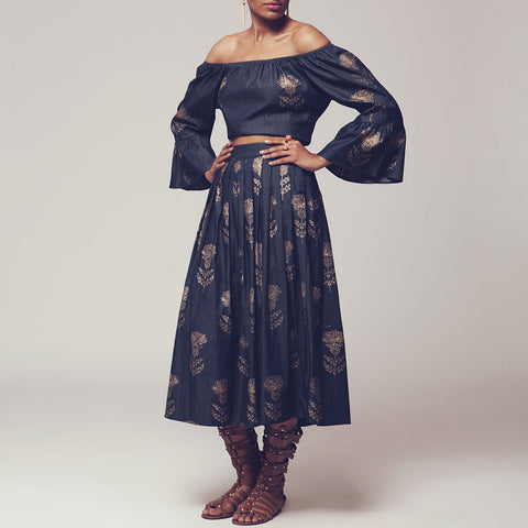 Set Of Denim Blue Gold Block Print Denim Off Shoulder Crop Top With Long Pleated Skirt by SHOW SHAA