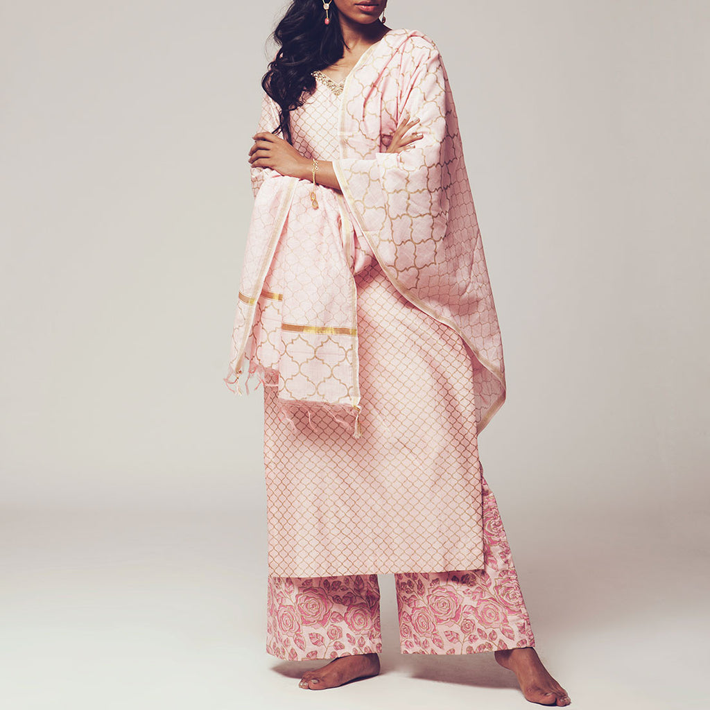 Set of Pink Floral Block Print Chanderi Kurta with Maheshwari Dupatta & Poly Cotton Bottoms by SHOW SHAA