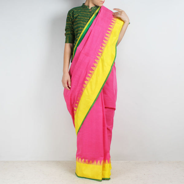 Hot Pink Khadi Cotton Three Shuttle Saree With Temple Border