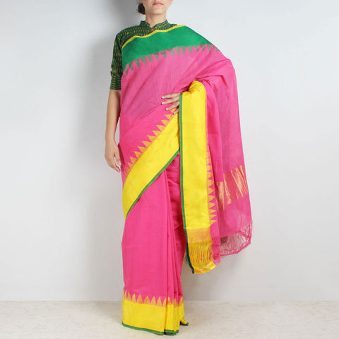 Hot Pink Khadi Cotton Three Shuttle Saree With Temple Border by Sailesh Singhania