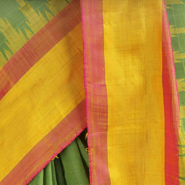 Viridian Green Khadi Cotton Three Shuttle Saree With Temple Border