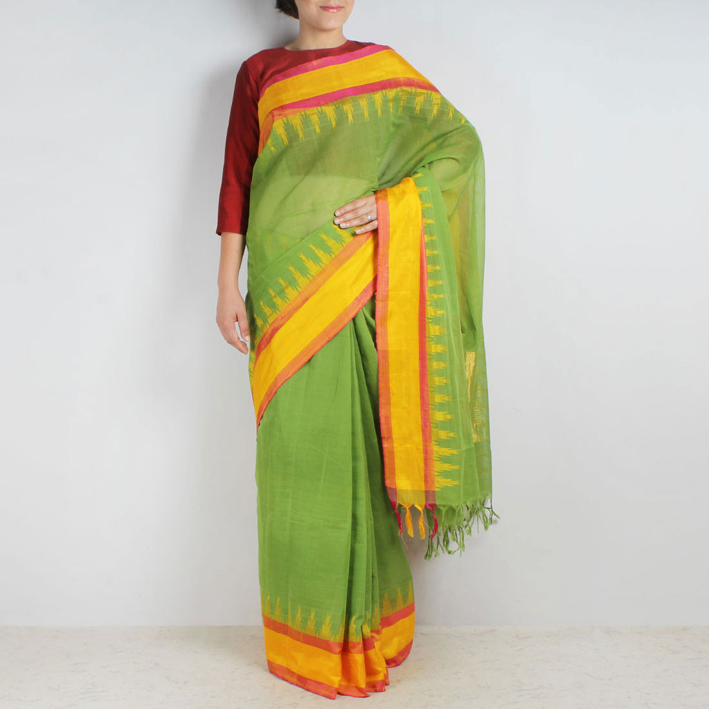 Viridian Green Khadi Cotton Three Shuttle Saree With Temple Border by Sailesh Singhania
