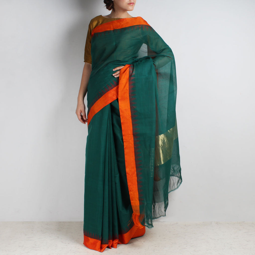 Turquoise Khadi Cotton Three Shuttle Saree With Temple Border by Sailesh Singhania