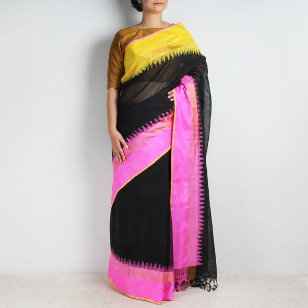 Black Khadi Cotton Three Shuttle Saree With Temple Border by Sailesh Singhania