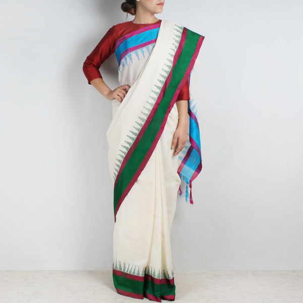 Khadi Cotton Three Shuttle Saree With Temple Border