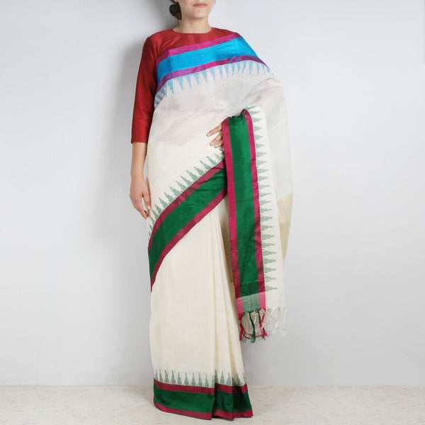 Khadi Cotton Three Shuttle Saree With Temple Border by Sailesh Singhania