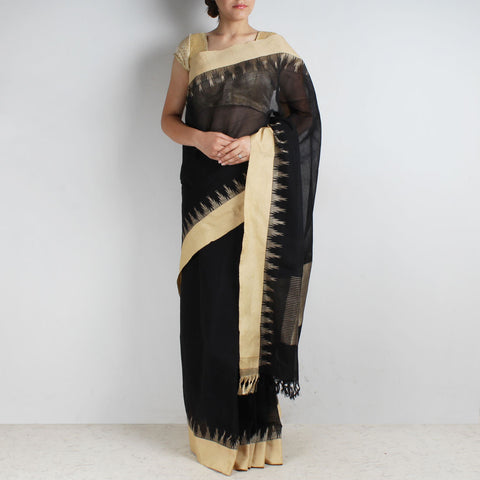 Dark Black Khadi Cotton Three Shuttle Saree With Temple Border by Sailesh Singhania
