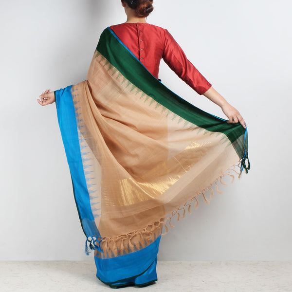 Brown Khadi Cotton Three Shuttle Saree With Temple Border