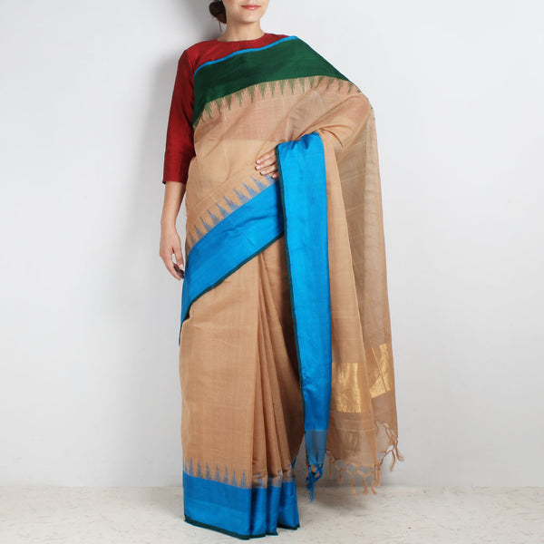 Brown Khadi Cotton Three Shuttle Saree With Temple Border by Sailesh Singhania