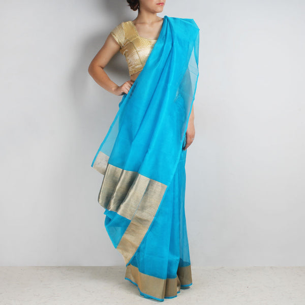 Blue Organza Silk Saree With Banarasi Zari Border