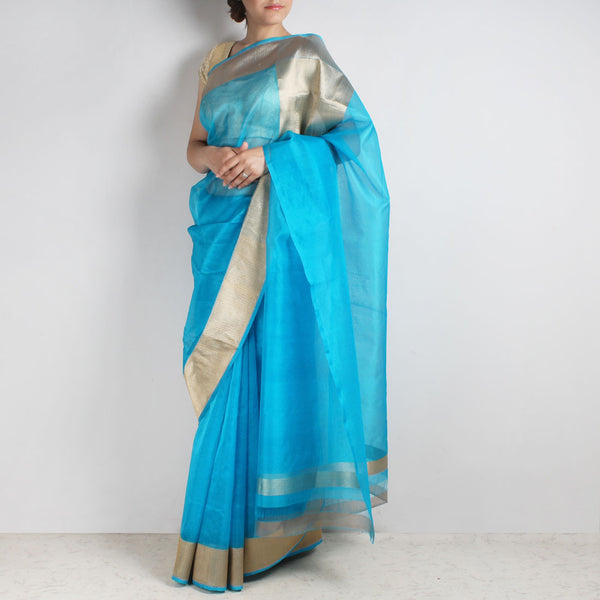Blue Organza Silk Saree With Banarasi Zari Border by Sailesh Singhania