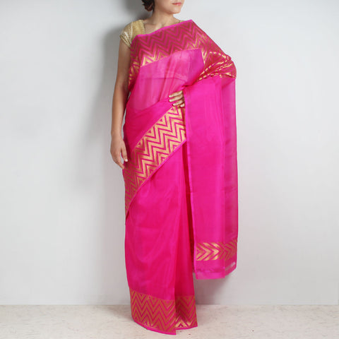 Pink Kota Silk Saree With Zari Border by Sailesh Singhania