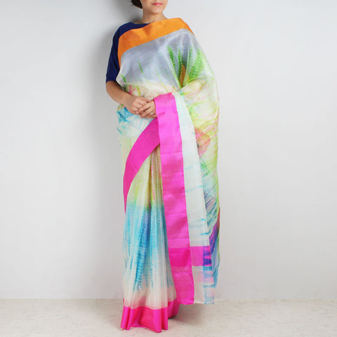 Kota Silk Tie & Dye Saree With Silk Border by Sailesh Singhania