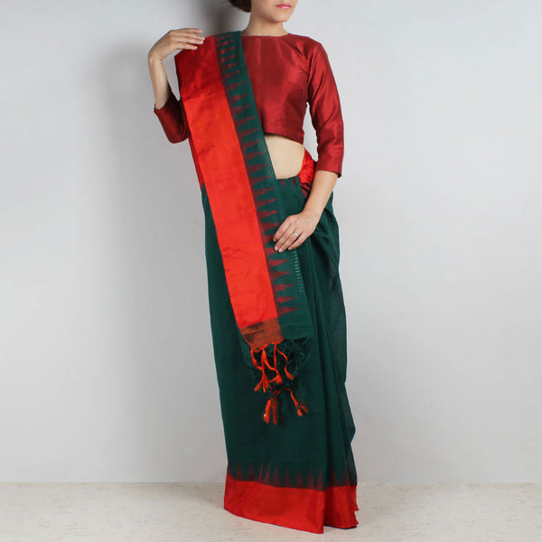 Green Khadi Cotton Three Shuttle Saree With Temple Border