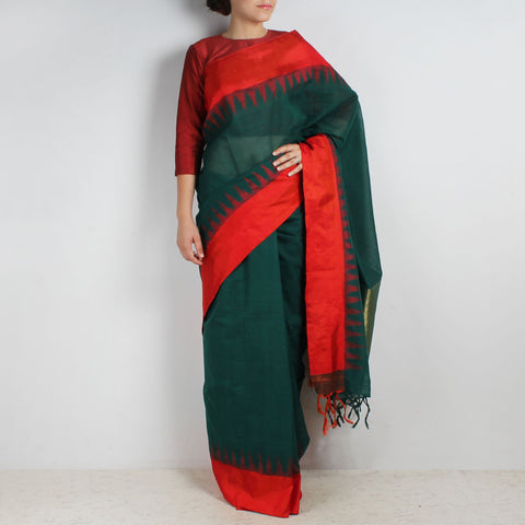 Green Khadi Cotton Three Shuttle Saree With Temple Border by Sailesh Singhania
