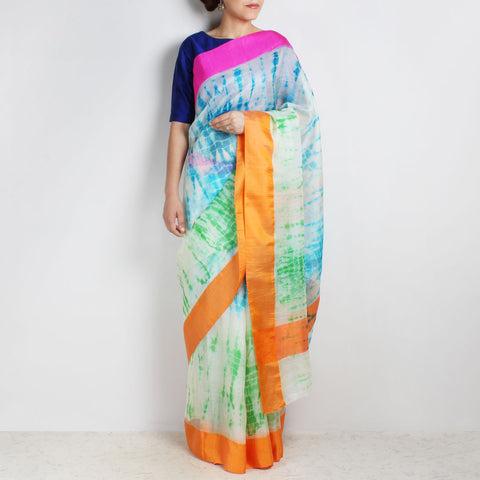 White& Blue Kota Silk Tie & Dye Saree With Silk Border by Sailesh Singhania