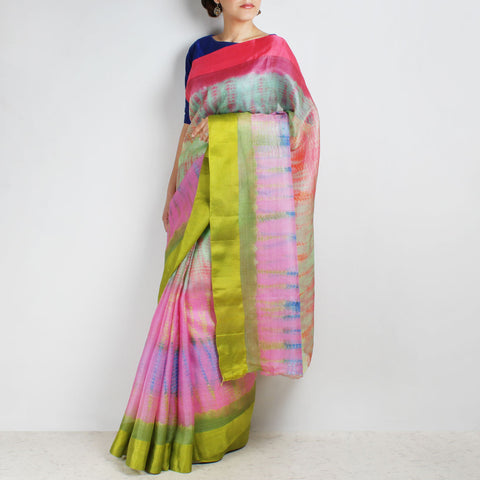 Pink Kota Silk Tie & Dye Saree With Silk Border by Sailesh Singhania
